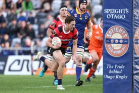 Winger George Bridge scoring a try for Canterbury against Otago during the 2018 Mitre 10 Cup game at Forsyth Barr, in Dunedin