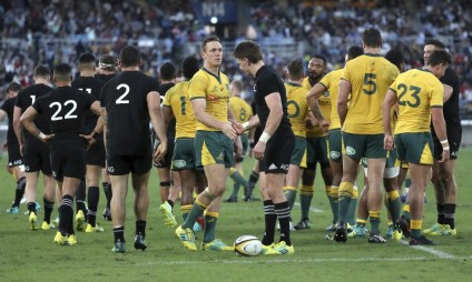Dane Haylett-Petty and Beauden Barrett showed each other respect following the 2018 Bledisloe Cup III game between Australia and New Zealand