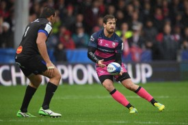 The Gloucester playmaker Danny Cipriani passing the ball against Castres Olympique during the 2018-2019 Champions Cup game in Kingsholm