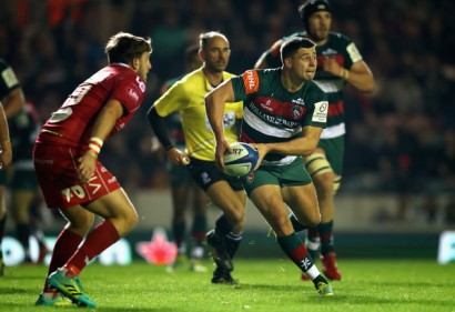 The Leicester Tigers scrum-half Ben Youngs with the ball during the 2018-2019 Champions Cup game against the Scarlets, in Welford Road