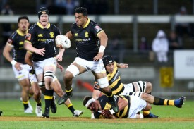 The Wellington back-rower Teariki Ben-Nicholas carrying the ball against Taranaki during the Round 9 of the Mitre 10 Cup 2018 in Yarrow Stadium, New Plymouth