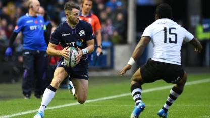 The Scotland winger Tommy Seymour scored a Hat-Trick against Fiji during the Autumn Tour 2018 at Murrayfield