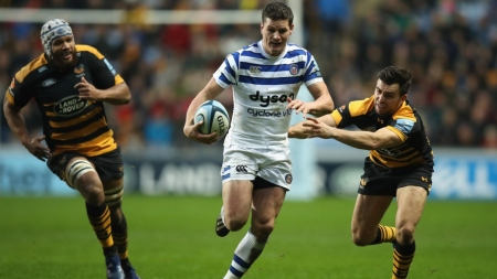 The Bath Rugby fly-half Freddie Burns scored a try in the win against the Wasps during the 2018-2019 Premiership season at the Ricoh Arena