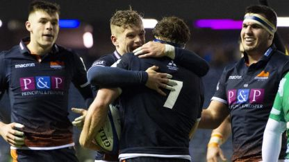 Flanker Hamish Watson is celebrating a try with his Edinburgh teammates in the Champions Cup against Newcastle during the 2018-2019 season