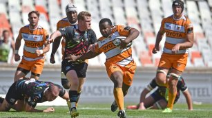 the cheetahs prop ox nche scored a try against zebre during the 2018-2019 pro14 season at free state stadium, bloemfontein