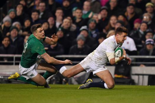 The England centre Henry Slade pictured scoring one of his two tries against Ireland during the Six Nations in 2019, at Aviva Stadium, Dublin