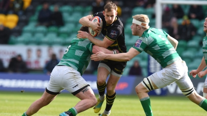 The Northampton Saints centre Rory Hutchinson playing against Newcastle Falcons in the 2018-2019 Premiership Rugby Cup semi-final win