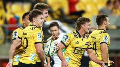 The Hurricanes celebrating a try during their Super Rugby win against the Stormers at Westpac Stadium, Wellington, New Zealand, in 2019