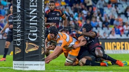 The Cheetahs second-rower Walt Steenkamp scored a try against the Southern Kings during the last 2018-2019 Pro14 Round in Bloemfontein
