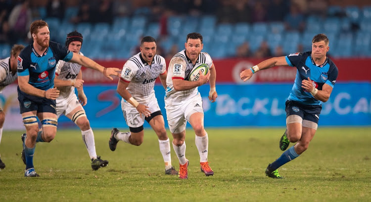 The All Blacks centre Ryan Crotty running with ball in hand for the Crusaders during the 2019 Super Rugby game against the Bulls in Pretoria
