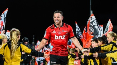 The All Blacks centre Ryan Crotty celebrated his 150th cap for the Crusaders with a try against the Melbourne Rebels during 2019 Super Rugby