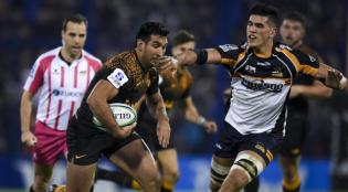 The Pumas centre Matias Orlando scored a brace for the Jaguares during the 2019 Super Rugby semi-final against the Brumbies in Buenos Aires