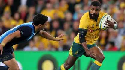 Winger Marika Koroibete on the run for Australia against Argentina during the 2019 Rugby Championship Round 2 at Suncorp Stadium, Brisbane