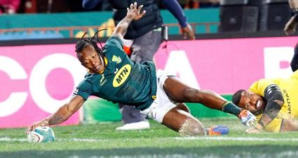 Winger S'busiso Nkosi scoring a try for South Africa against Australia during the opening game of the 2019 Rugby Championship at Ellis Park