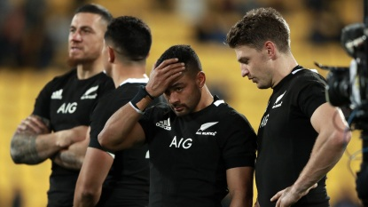 Beauden Barrett and Richie Mo'unga reacting after the 16-16 draw between New Zealand and South Africa during the 2019 Rugby Championship