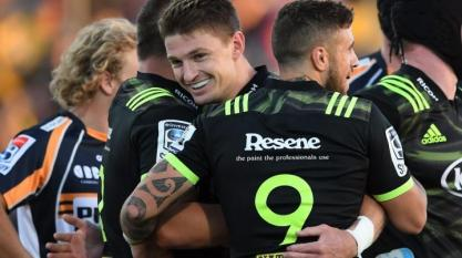 Beauden Barrett celebrating a try for the Hurricanes against the Brumbies during the 2019 Super Rugby