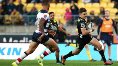 The Hurricanes playmaker Beauden Barrett scored a try against the Melbourne Rebels during the 2019 Super Rugby