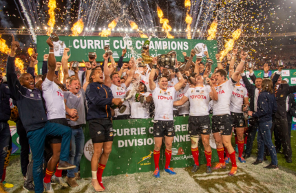 The Free State Cheetahs skipper Tian Meyer holding the Currie Cup after the home Final win against the Golden Lions, in Bloemfontein, in 2019