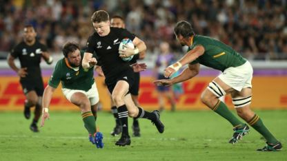 Beauden Barrett finding the space for New Zealand during the All Blacks' opening World Cup game against South Africa, in Japan
