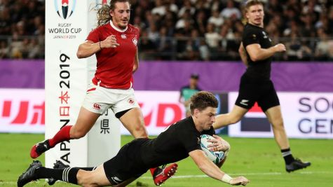 The All Blacks player Beauden Barrett scored his first try of the 2019 World Cup during the New Zealand's second pool game against Canada