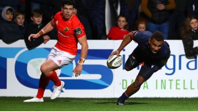 The Fijian winger Eroni Sau scored the winning try for Edinburgh against Munster during the 2019-2020 Guinness Pro14 season game in Cork